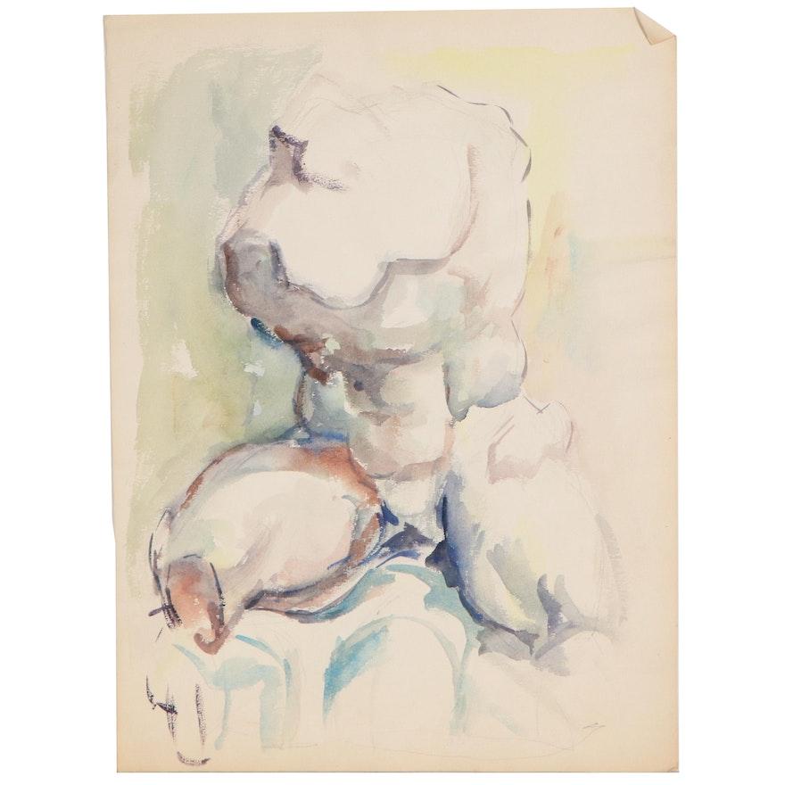 Yolanda Fusco Watercolor Figure Painting of Torso