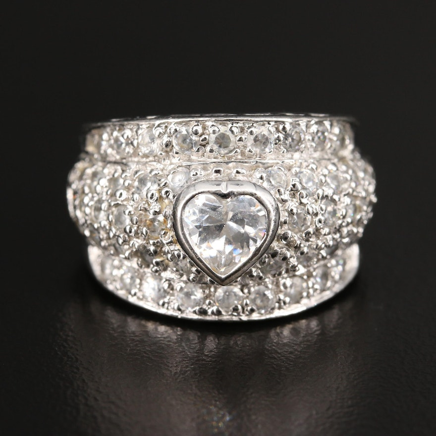 Sterling Silver Cubic Zirconia Ring Featuring Heart Center