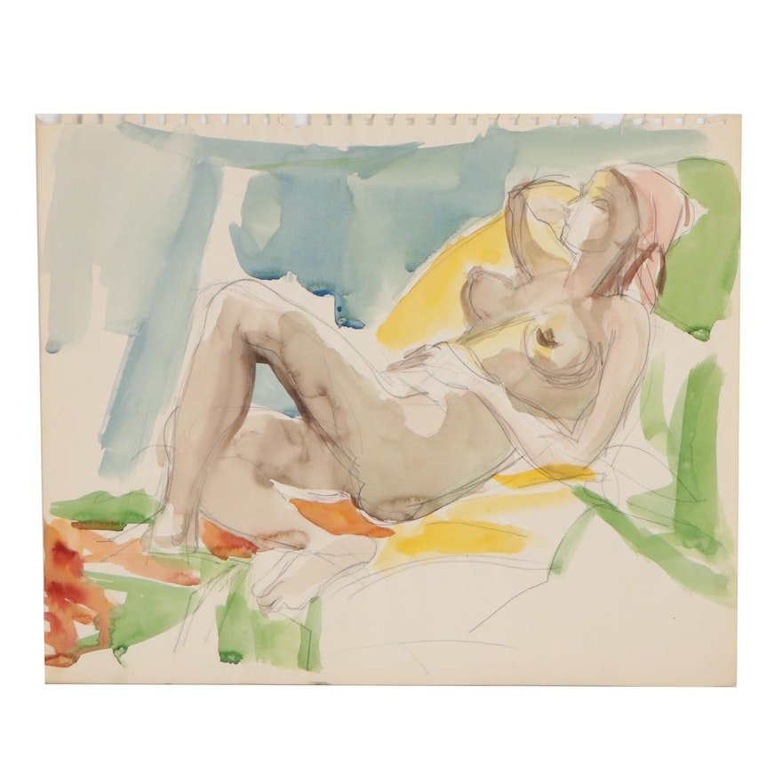 Yolanda Fusco Graphite and Watercolor Figure Painting, Mid to Late 20th Century