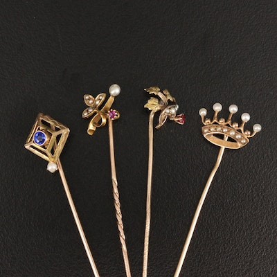 Antique 14K and 10K Stick Pins with Garnet and Glass Doublet, Ruby and Pearls