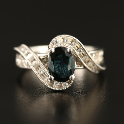 Sterling Silver Sapphire and Cubic Zirconia Ring Featuring Bypass Design