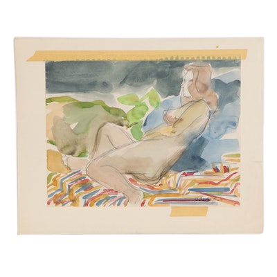Yolanda Fusco Watercolor Painting of Reclining Figure, Mid to Late 20th Century