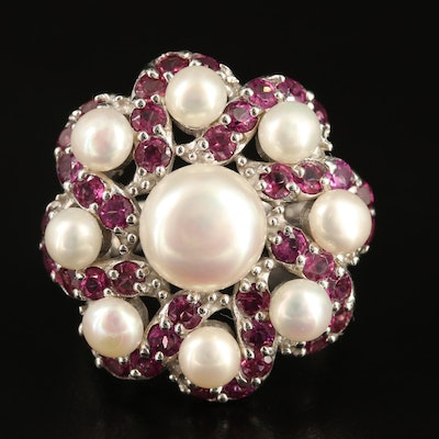 Sterling Silver Pearl and Garnet Ring with Pin Wheel Design