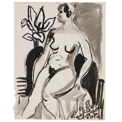 Yolanda Fusco Ink Wash Figure Painting, Mid to Late 20th Century