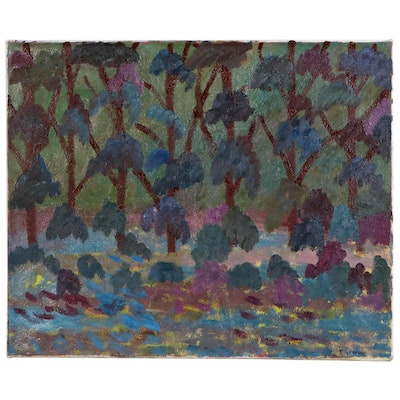 Jerry Mironov Abstract Oil Painting of Woodland, Late 20th Century