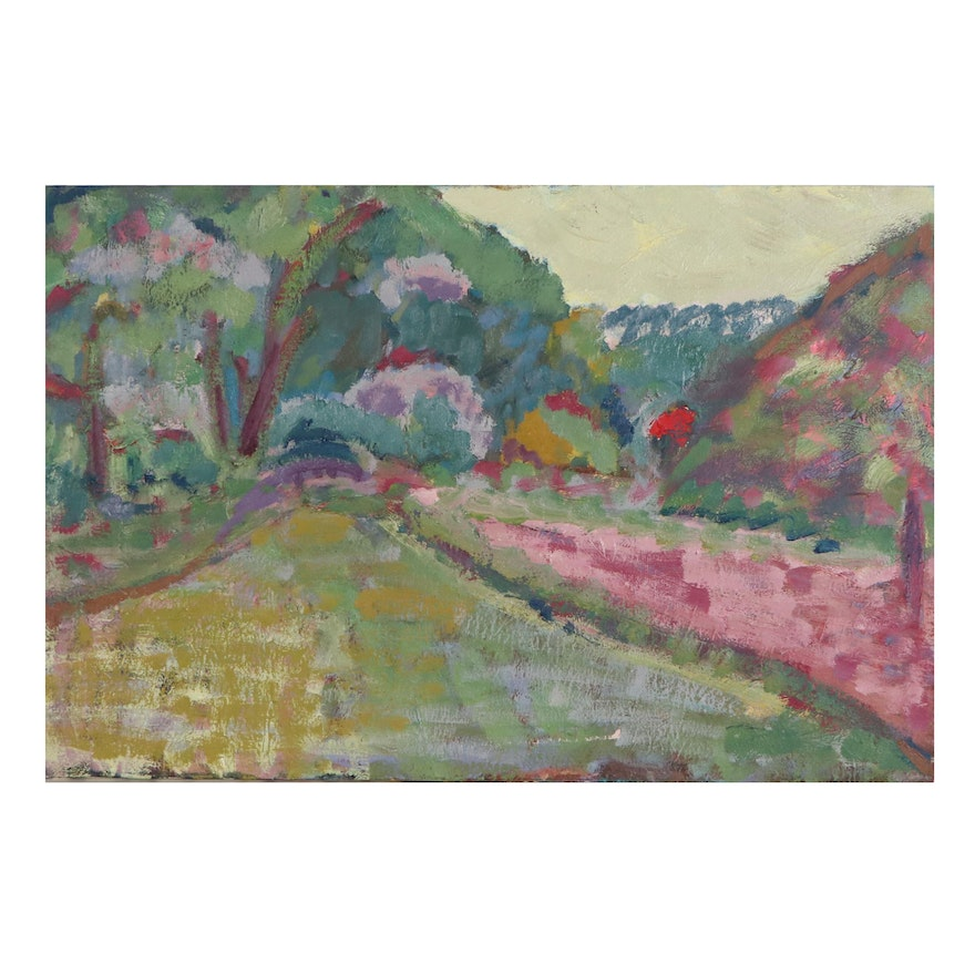 Jerald Mironov Landscape Oil Painting, Late 20th Century
