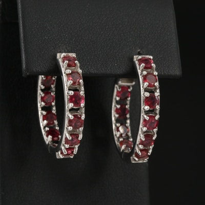 Sterling Silver Rhodolite Garnet Inside-Out Hoop Earrings