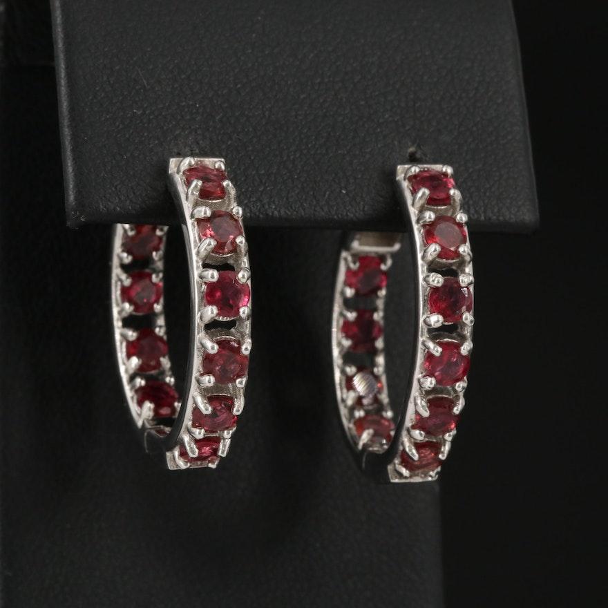Sterling Silver Rhodolite Garnet Inside-Out Hoop Earrings