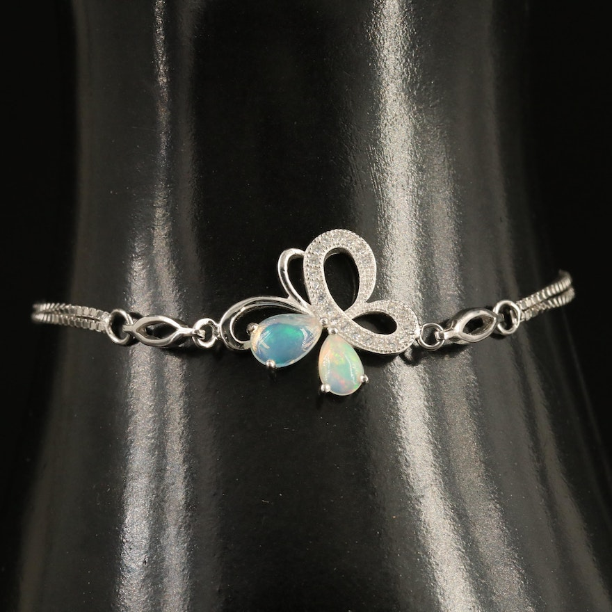 Sterling Silver Butterfly Bracelet with Opal and Cubic Zirconia