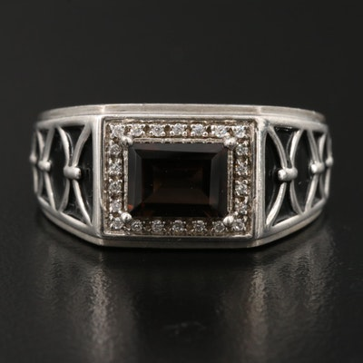 Sterling Silver Smoky Quartz and Cubic Zirconia Ring
