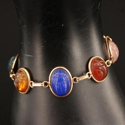 Vintage 14K Gemstone Scarab Bracelet with Tiger's Eye and Rose Quartz