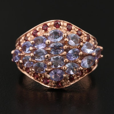 Sterling Silver Tanzanite and Rhodolite Garnet Cluster Ring