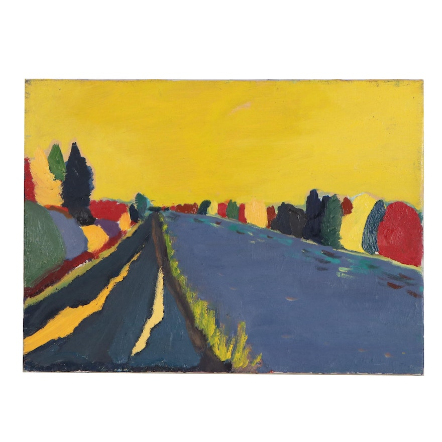 Jerald Mironov Fauvist Style Oil Painting of Back Roads