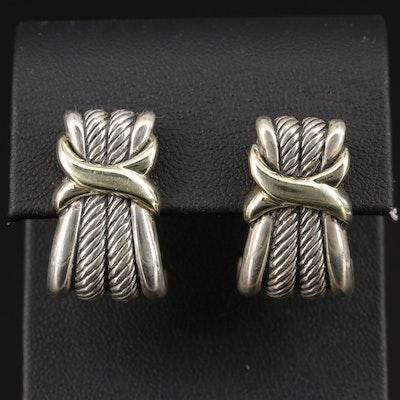 David Yurman Sterling Silver and 14K J Hoop Earrings