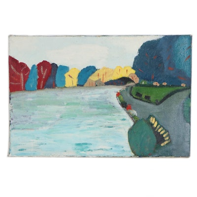Jerald Mironov Abstract Landscape Oil Painting, 20th Century