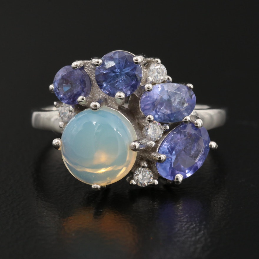 Sterling Silver Opal, Tanzanite and Cubic Zirconia Ring