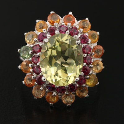 Sterling Silver Citrine, Rhodolite Garnet and Sapphire Double Halo Ring