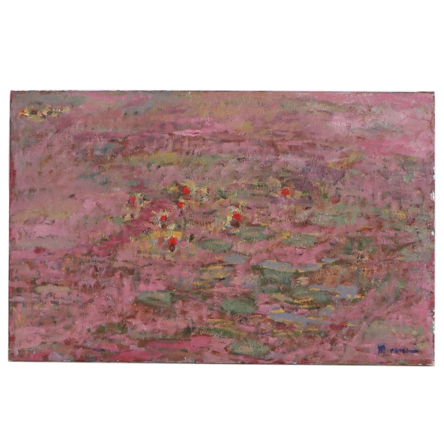 Jerald Mironov Impressionist Style Oil Painting of Waterlilies