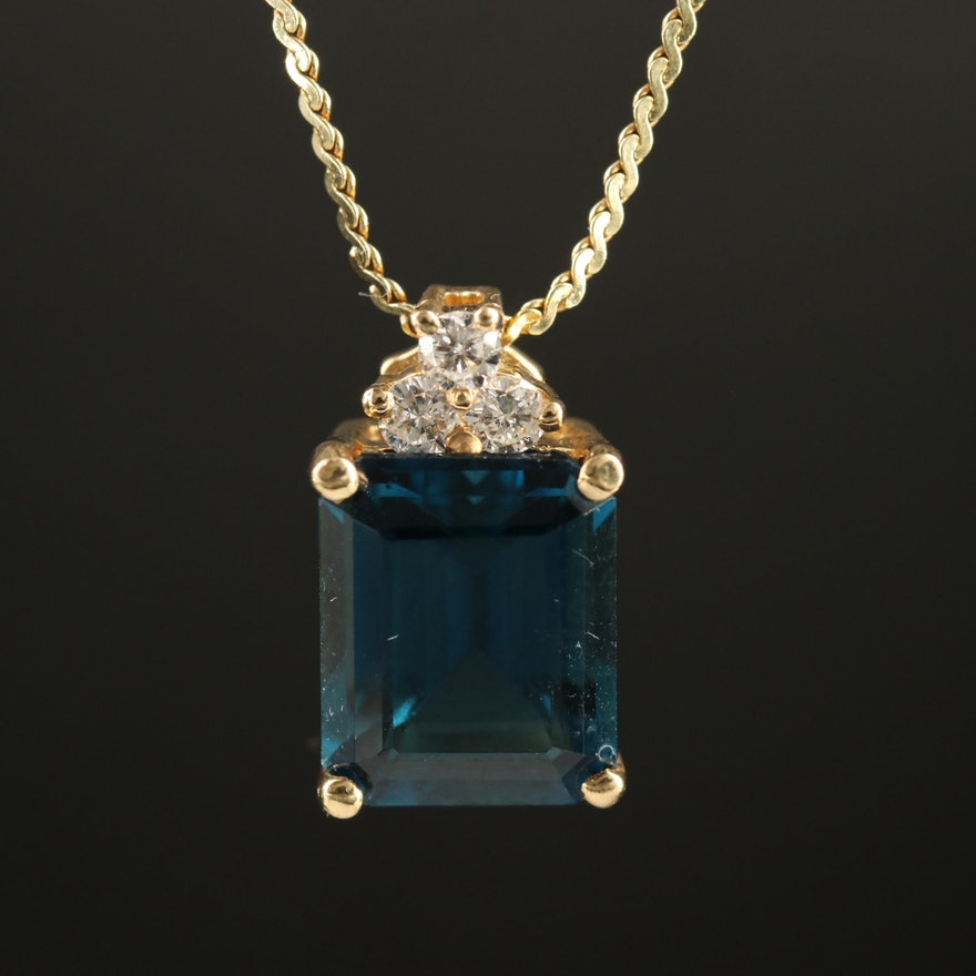 14K London Blue Topaz and Diamond Pendant Necklace