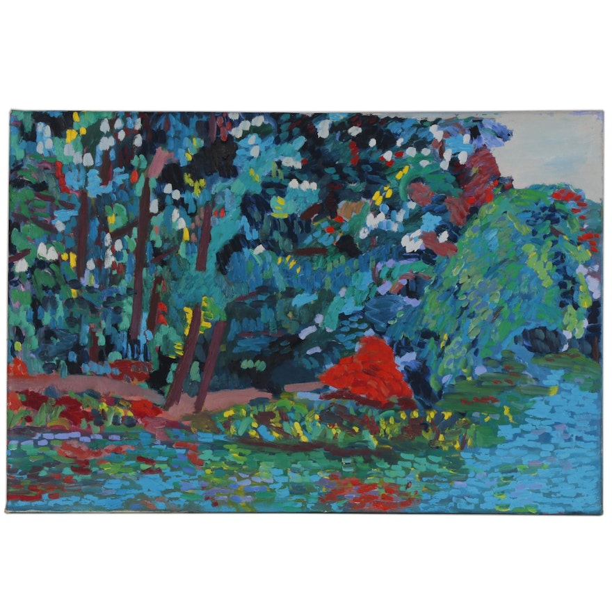 Jerald Mironov Post-Impressionist Style Oil Painting of Waterscape