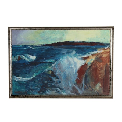 "Reginald Grooms Tempera Painting ""Maine Coast"", Late 20th Century"
