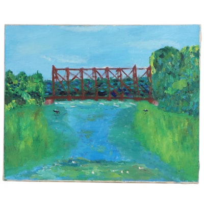 Jerry Mironov Oil Painting of Waterscape with Bridge, Late 20th Century