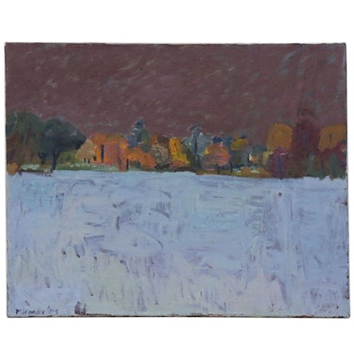 Jerry Mironov Abstract Winter Landscape Oil Painting, Late 20th Century
