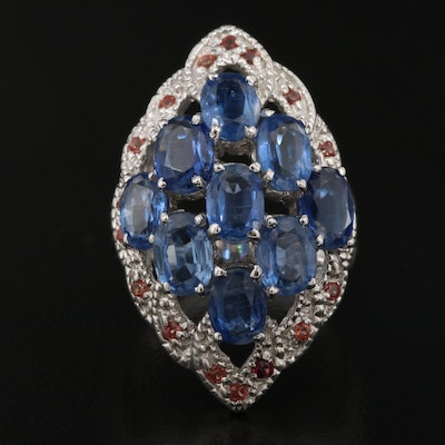 Sterling Silver Kyanite, Sapphire and Garnet Statement Ring