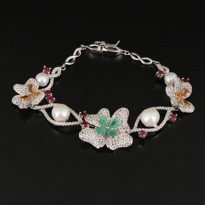 Sterling Silver Pearl, Emerald and Sapphire Flower Bracelet