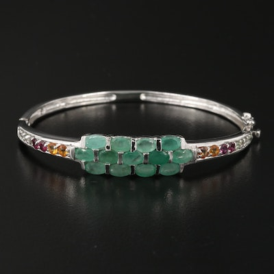 Sterling Emerald, Sapphire and Rhodolite Garnet Hinged Bangle