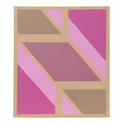 Geometric Abstraction Acrylic Painting, 21st Century