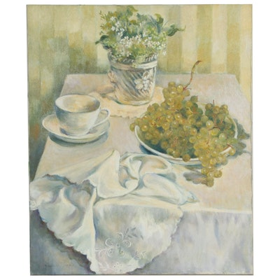 Jacques Zuccaire Tablescape Oil Painting, Late 20th Century