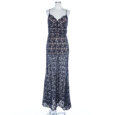 Jill Stuart Carolina Black Floral Lace Evening Dress with Spaghetti Straps