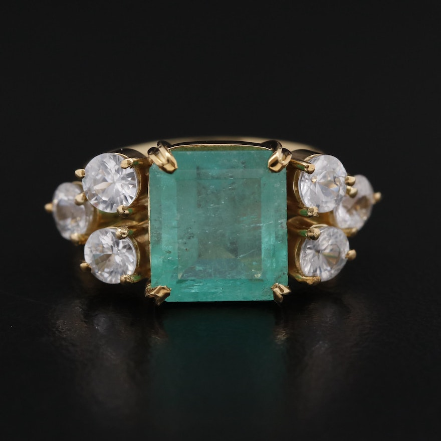 18K 3.95 CT Emerald Ring with Topaz Accents