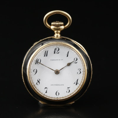 Vintage Tiffany & Co. 18K Gold and Enamel Open Face Pocket Watch