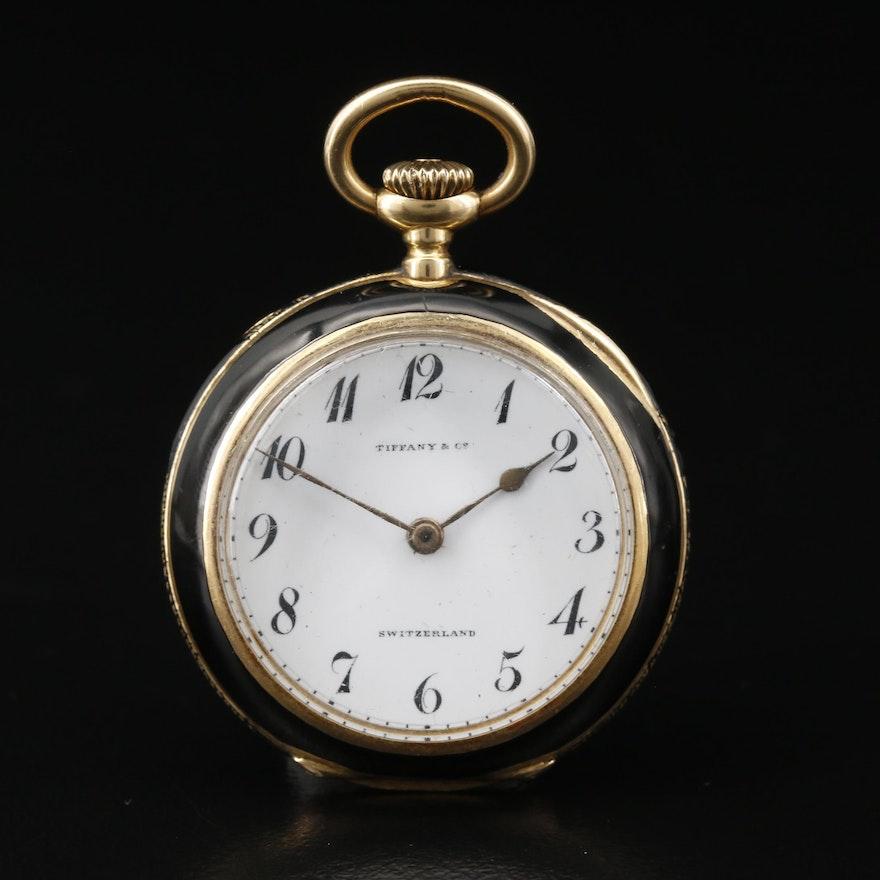 Vintage Tiffany & Co. 18K Gold and Enamel Open Face Pocket Watch