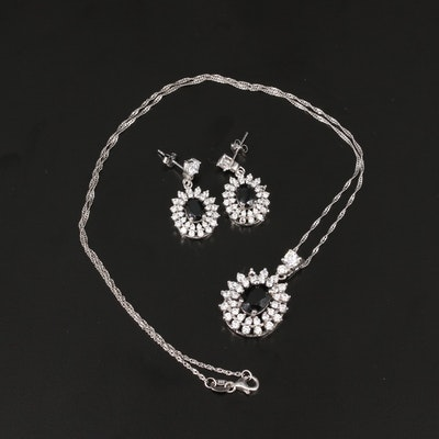 Sterling Silver Spinel and Cubic Zirconia Necklace and Drop Earring Set