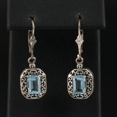 Sterling Silver Topaz Drop Earrings