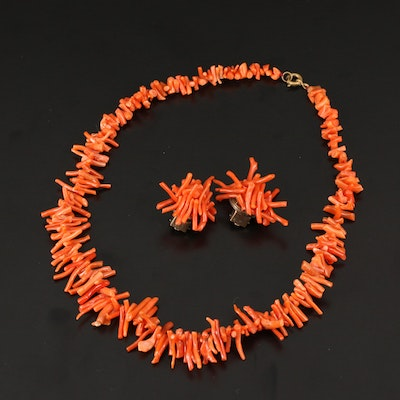 Beaded Coral Necklace and Earrings