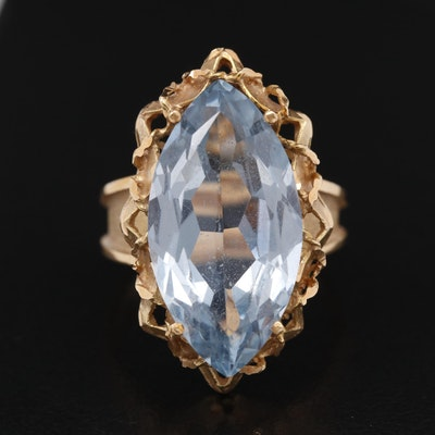 18K 12.23 CT Topaz Navette Ring