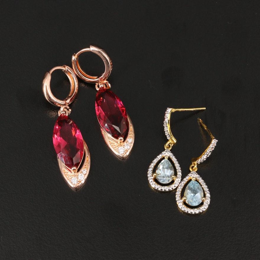 Sterling Silver Topaz and Diamond Dangle Earrings