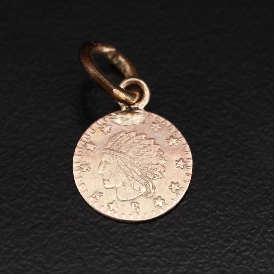 "10K ""California Gold"" Miniature Indian Head Charm"