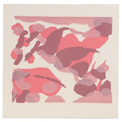 "D. Elizabeth Price Abstract Monoprint Serigraph ""Boogie in Mauve"", 1977"
