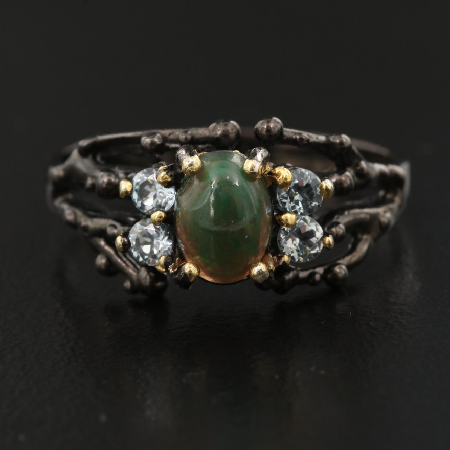 Sterling Silver Opal and Topaz Ring with Organic Design