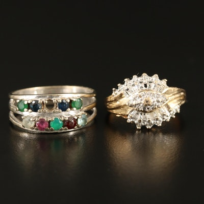 10K Diamond and Multi-Gemstone Rings