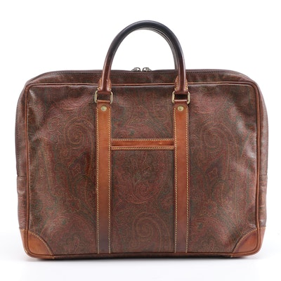 ETRO Laptop Case in Paisley Coated Canvas with Leather Trim