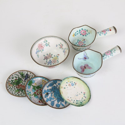 Chinese Hand-Painted Enamel Rice Scoops and Other Dishes Including Cloisonne