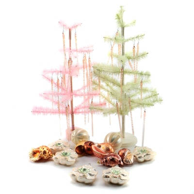 Blown Glass Ornaments with Bottle Brush Tabletop Trees