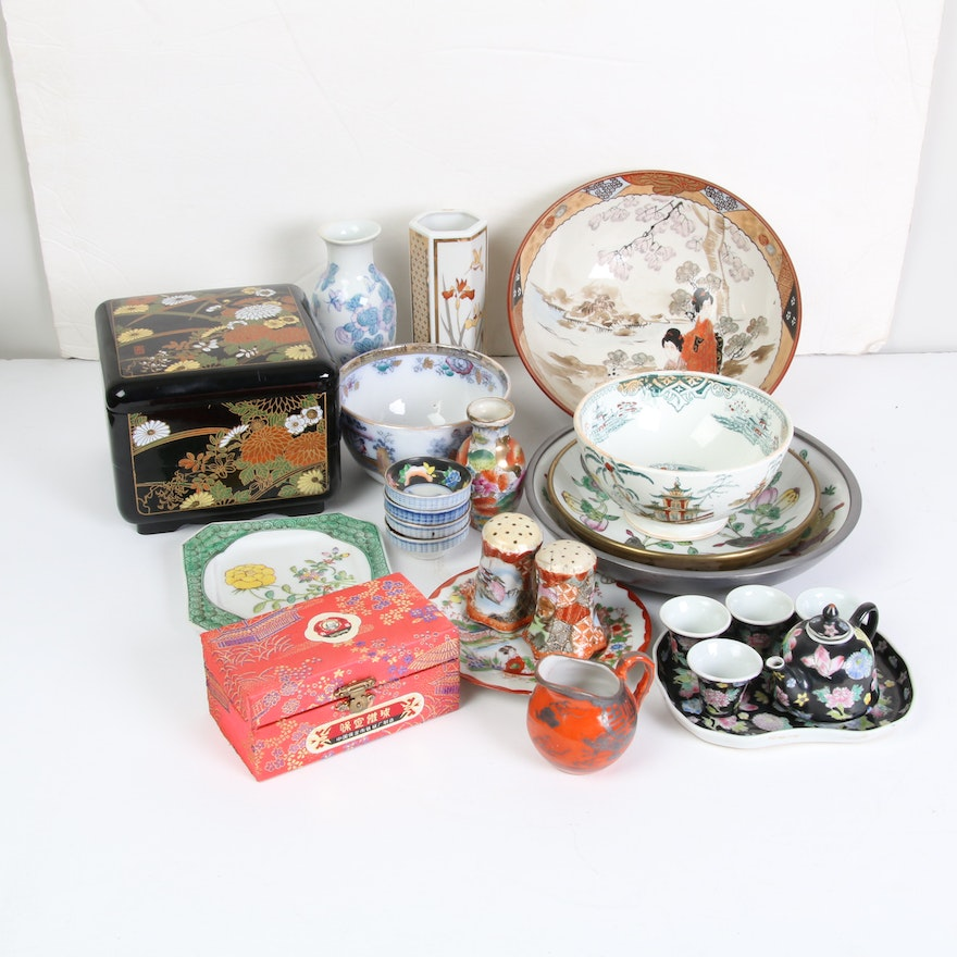 Japanese Bud Vases, Miniature Tea Set, and Other Decor