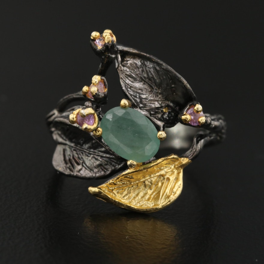 Sterling Silver Emerald and Quartz Ring Featuring Organic Leaf Design